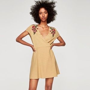 Zara Embroidered Floral Cap Sleeve Faux Wrap Dress